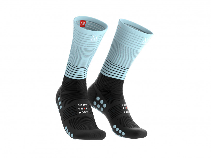 Compressport mid-compression-socks black-iceblue 9954