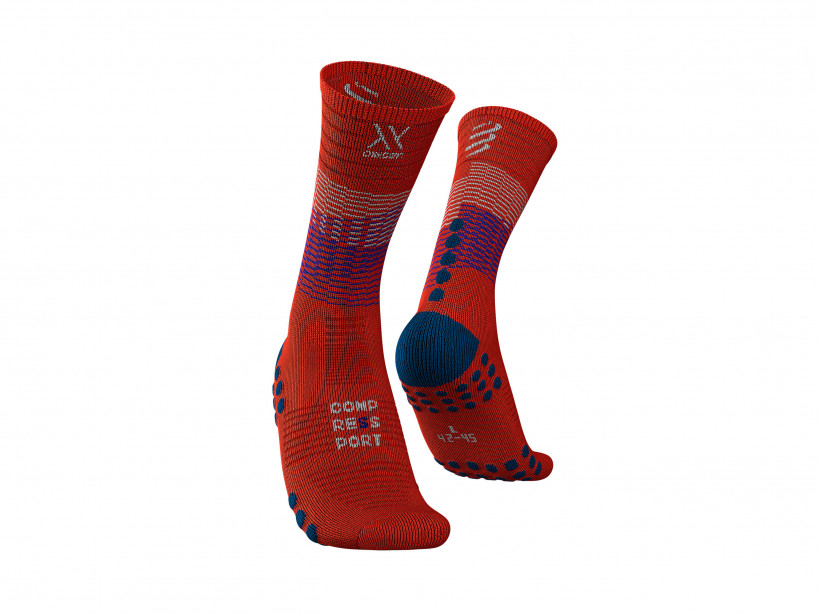 Compressport mid-compression-socks blood orange R-22