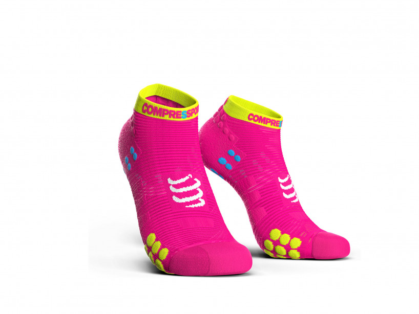 Compressport pro racing sokkar lágir bleikur